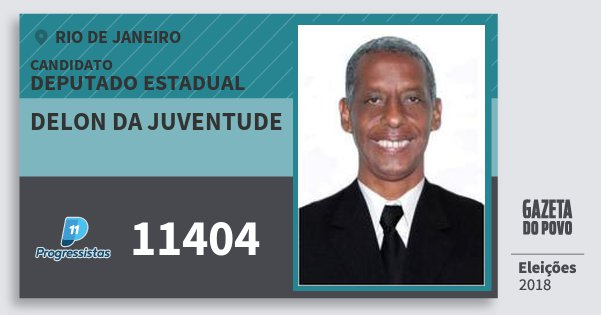 Santinho Delon da Juventude 11404 (PP) Deputado Estadual | Rio de Janeiro | Eleições 2018
