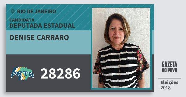 Santinho Denise Carraro 28286 (PRTB) Deputada Estadual | Rio de Janeiro | Eleições 2018