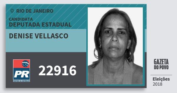 Santinho Denise Vellasco 22916 (PR) Deputada Estadual | Rio de Janeiro | Eleições 2018