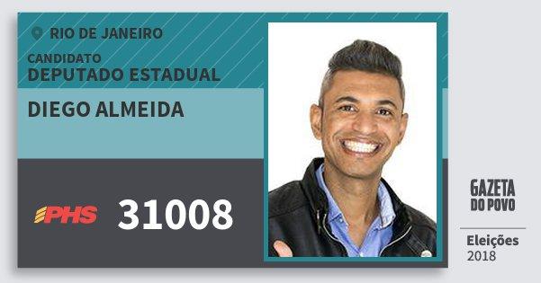 Santinho Diego Almeida 31008 (PHS) Deputado Estadual | Rio de Janeiro | Eleições 2018