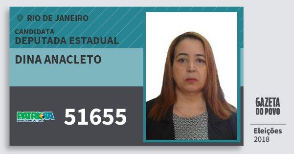 Santinho Dina Anacleto 51655 (PATRI) Deputada Estadual | Rio de Janeiro | Eleições 2018