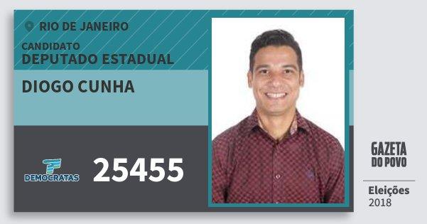 Santinho Diogo Cunha 25455 (DEM) Deputado Estadual | Rio de Janeiro | Eleições 2018