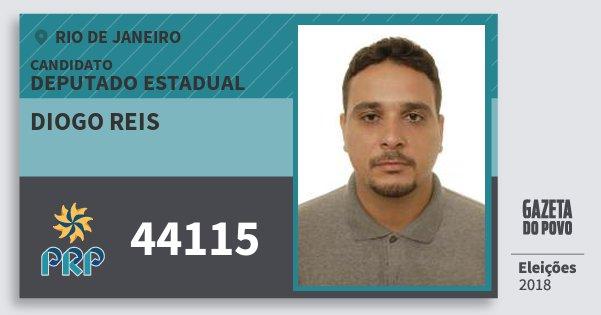 Santinho Diogo Reis 44115 (PRP) Deputado Estadual | Rio de Janeiro | Eleições 2018