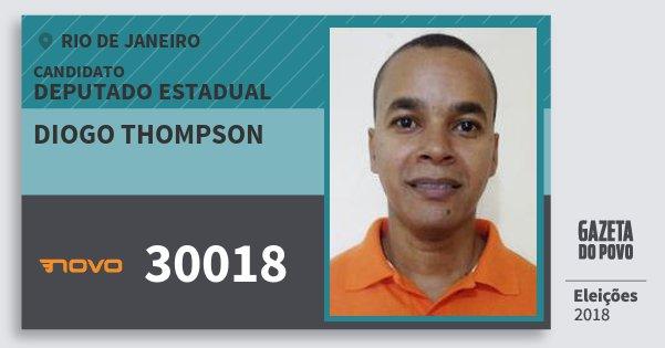 Santinho Diogo Thompson 30018 (NOVO) Deputado Estadual | Rio de Janeiro | Eleições 2018