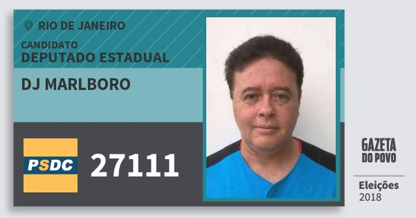 Santinho Dj Marlboro 27111 (DC) Deputado Estadual | Rio de Janeiro | Eleições 2018