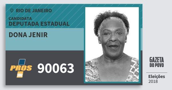 Santinho Dona Jenir 90063 (PROS) Deputada Estadual | Rio de Janeiro | Eleições 2018