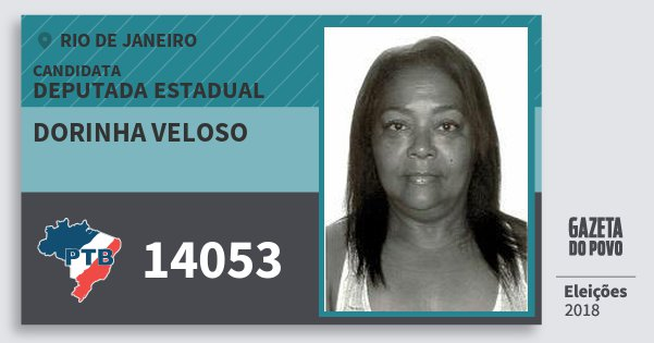Santinho Dorinha Veloso 14053 (PTB) Deputada Estadual | Rio de Janeiro | Eleições 2018