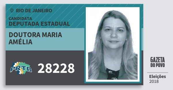 Santinho Doutora Maria Amélia 28228 (PRTB) Deputada Estadual | Rio de Janeiro | Eleições 2018