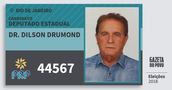 Santinho Dr. Dilson Drumond 44567 (PRP) Deputado Estadual | Rio de Janeiro | Eleições 2018