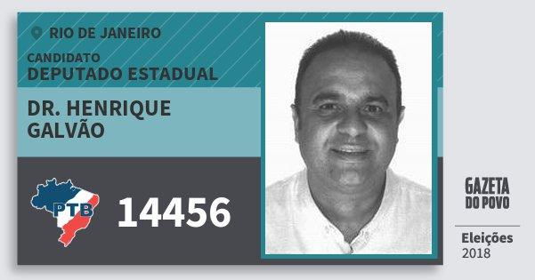 Santinho Dr. Henrique Galvão 14456 (PTB) Deputado Estadual | Rio de Janeiro | Eleições 2018
