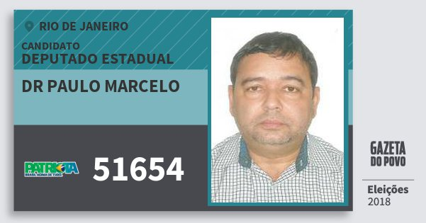 Santinho Dr Paulo Marcelo 51654 (PATRI) Deputado Estadual | Rio de Janeiro | Eleições 2018