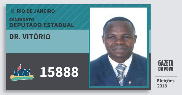 Santinho Dr. Vitório 15888 (MDB) Deputado Estadual | Rio de Janeiro | Eleições 2018