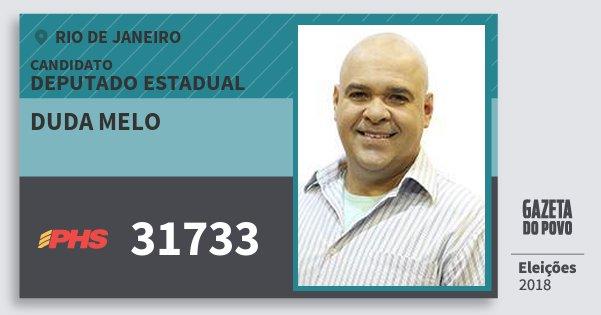 Santinho Duda Melo 31733 (PHS) Deputado Estadual | Rio de Janeiro | Eleições 2018