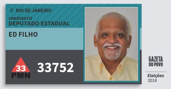 Santinho Ed Filho 33752 (PMN) Deputado Estadual | Rio de Janeiro | Eleições 2018