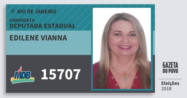 Santinho Edilene Vianna 15707 (MDB) Deputada Estadual | Rio de Janeiro | Eleições 2018
