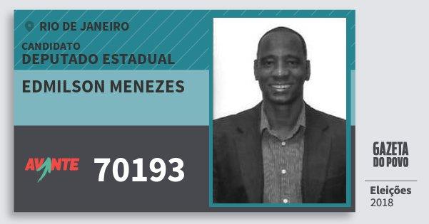 Santinho Edmilson Menezes 70193 (AVANTE) Deputado Estadual | Rio de Janeiro | Eleições 2018