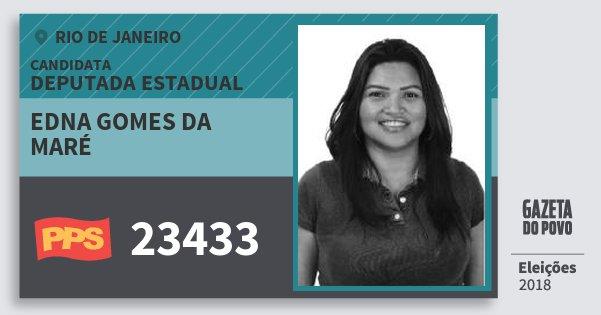 Santinho Edna Gomes da Maré 23433 (PPS) Deputada Estadual | Rio de Janeiro | Eleições 2018