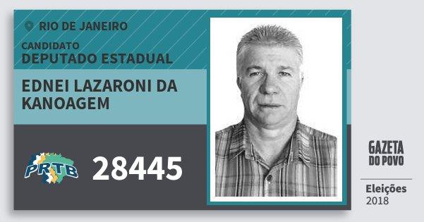Santinho Ednei Lazaroni da Kanoagem 28445 (PRTB) Deputado Estadual | Rio de Janeiro | Eleições 2018