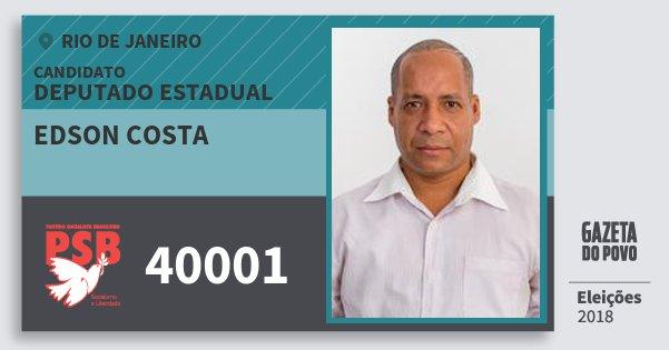 Santinho Edson Costa 40001 (PSB) Deputado Estadual | Rio de Janeiro | Eleições 2018