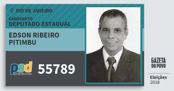Santinho Edson Ribeiro Pitimbu 55789 (PSD) Deputado Estadual | Rio de Janeiro | Eleições 2018