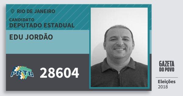 Santinho Edu Jordão 28604 (PRTB) Deputado Estadual | Rio de Janeiro | Eleições 2018