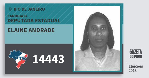 Santinho Elaine Andrade 14443 (PTB) Deputada Estadual | Rio de Janeiro | Eleições 2018