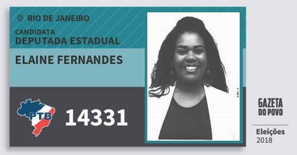 Santinho Elaine Fernandes 14331 (PTB) Deputada Estadual | Rio de Janeiro | Eleições 2018