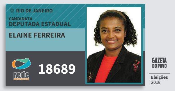 Santinho Elaine Ferreira 18689 (REDE) Deputada Estadual | Rio de Janeiro | Eleições 2018