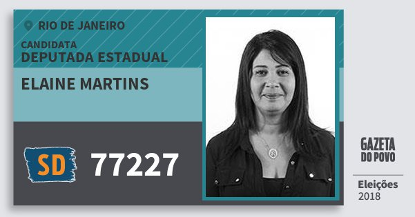 Santinho Elaine Martins 77227 (SOLIDARIEDADE) Deputada Estadual | Rio de Janeiro | Eleições 2018