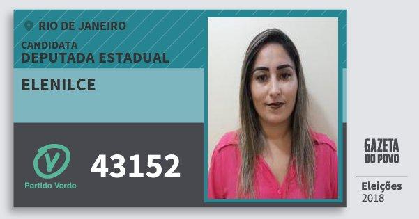 Santinho Elenilce 43152 (PV) Deputada Estadual | Rio de Janeiro | Eleições 2018