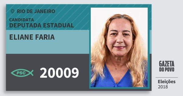 Santinho Eliane Faria 20009 (PSC) Deputada Estadual | Rio de Janeiro | Eleições 2018