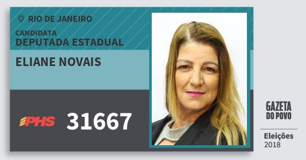 Santinho Eliane Novais 31667 (PHS) Deputada Estadual | Rio de Janeiro | Eleições 2018