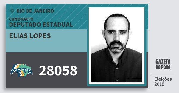 Santinho Elias Lopes 28058 (PRTB) Deputado Estadual | Rio de Janeiro | Eleições 2018