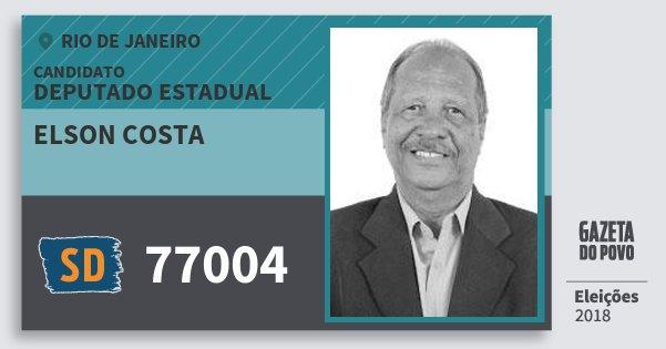 Santinho Elson Costa 77004 (SOLIDARIEDADE) Deputado Estadual | Rio de Janeiro | Eleições 2018