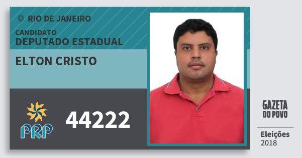 Santinho Elton Cristo 44222 (PRP) Deputado Estadual | Rio de Janeiro | Eleições 2018
