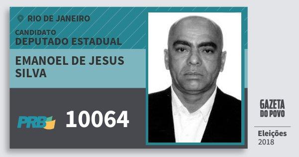 Santinho Emanoel de Jesus Silva 10064 (PRB) Deputado Estadual | Rio de Janeiro | Eleições 2018