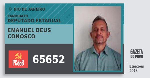 Santinho Emanuel Deus Conosco 65652 (PC do B) Deputado Estadual | Rio de Janeiro | Eleições 2018