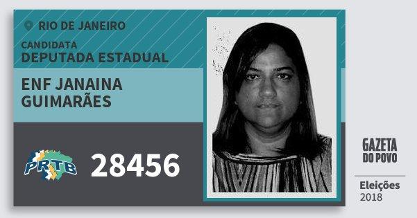 Santinho Enf Janaina Guimarães 28456 (PRTB) Deputada Estadual | Rio de Janeiro | Eleições 2018