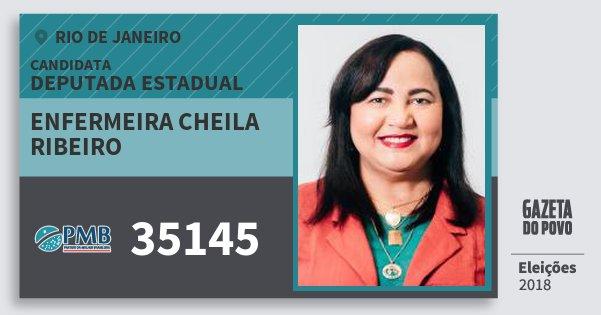 Santinho Enfermeira Cheila Ribeiro 35145 (PMB) Deputada Estadual | Rio de Janeiro | Eleições 2018