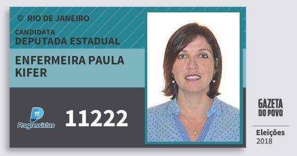 Santinho Enfermeira Paula Kifer 11222 (PP) Deputada Estadual | Rio de Janeiro | Eleições 2018