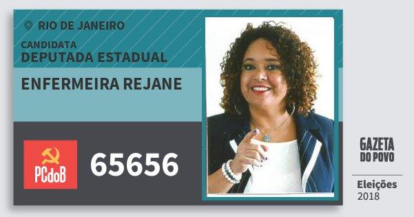 Santinho Enfermeira Rejane 65656 (PC do B) Deputada Estadual | Rio de Janeiro | Eleições 2018