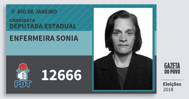 Santinho Enfermeira Sonia 12666 (PDT) Deputada Estadual | Rio de Janeiro | Eleições 2018