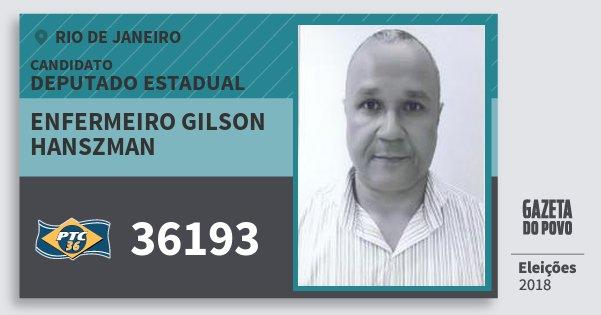 Santinho Enfermeiro Gilson Hanszman 36193 (PTC) Deputado Estadual | Rio de Janeiro | Eleições 2018