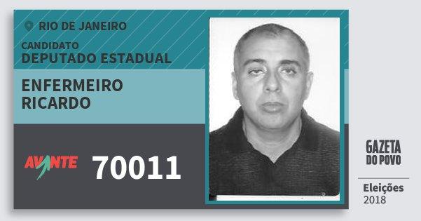 Santinho Enfermeiro Ricardo 70011 (AVANTE) Deputado Estadual | Rio de Janeiro | Eleições 2018