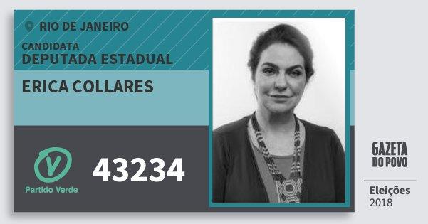 Santinho Erica Collares 43234 (PV) Deputada Estadual | Rio de Janeiro | Eleições 2018
