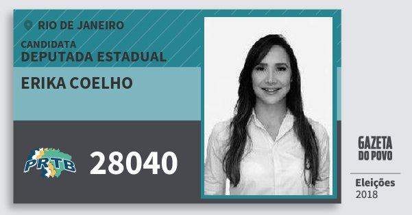 Santinho Erika Coelho 28040 (PRTB) Deputada Estadual | Rio de Janeiro | Eleições 2018