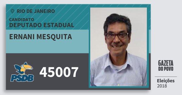 Santinho Ernani Mesquita 45007 (PSDB) Deputado Estadual | Rio de Janeiro | Eleições 2018