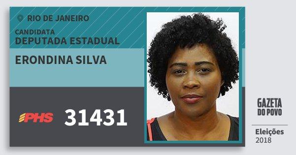 Santinho Erondina Silva 31431 (PHS) Deputada Estadual | Rio de Janeiro | Eleições 2018