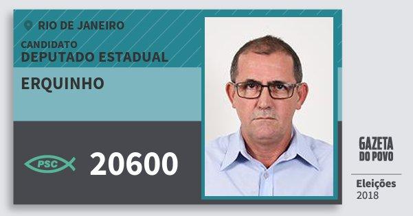 Santinho Erquinho 20600 (PSC) Deputado Estadual | Rio de Janeiro | Eleições 2018