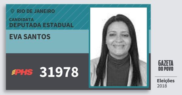 Santinho Eva Santos 31978 (PHS) Deputada Estadual | Rio de Janeiro | Eleições 2018